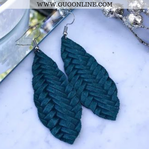 Scalloped Braided Leather Teardrop Earrings in Pine Green