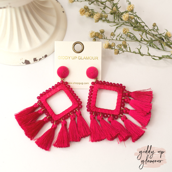 Crystal Diamond Outline Earrings with Tassels in Fuchsia