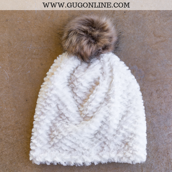 Fleece Lined Beanie with Pom Pom in Ivory