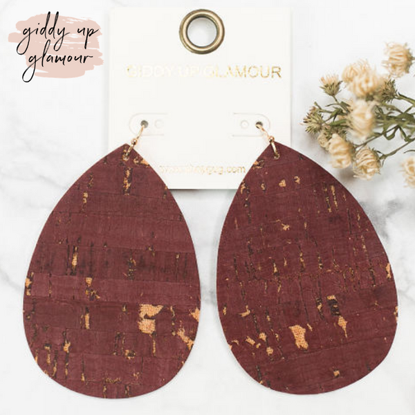 Distressed Cork Teardrop Earrings in Maroon