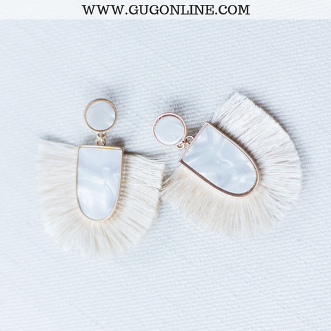 Ivory Marble Earrings with Fan Tassel