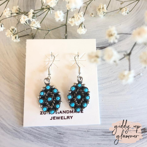 Zuni | Genuine Navajo Sterling Silver and Turquoise Petit Point Cluster Dangle Earrings