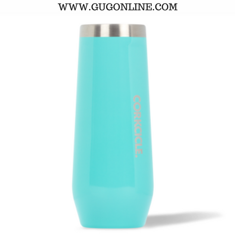 Corkcicle Stemless Champagne Flute in Gloss Turquoise - 7 oz