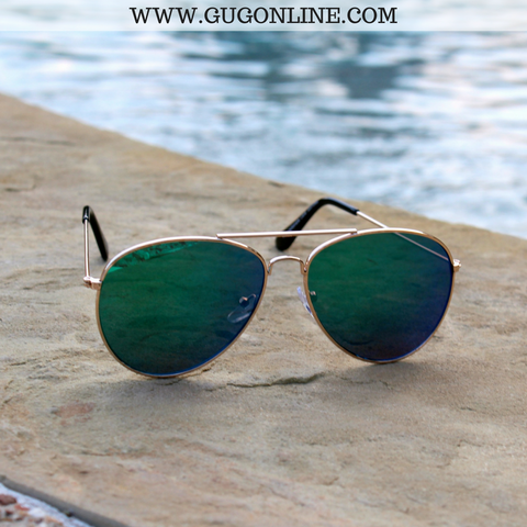 The Elena Aviator Sunglasses in Blue and Green