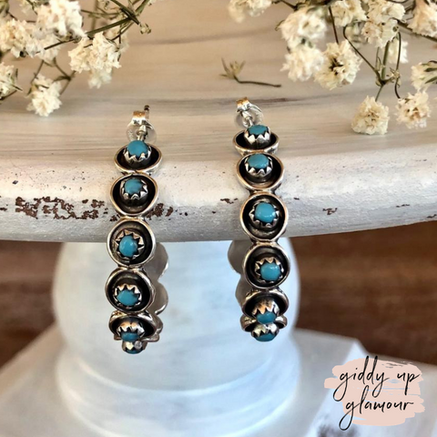 Zuni | Genuine Navajo Sterling Silver Oxidized Hoop Earrings with Turquoise Petit Point