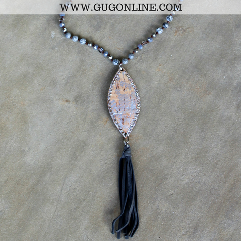 Pink Panache Long Silver Jasper Tassel Necklace with Python Navette and Clear Crystals