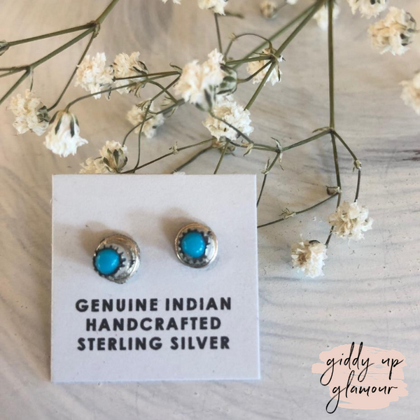 Navajo | Genuine Indian Handcrafted Sterling Silver and Turquoise Petit Stud Earrings
