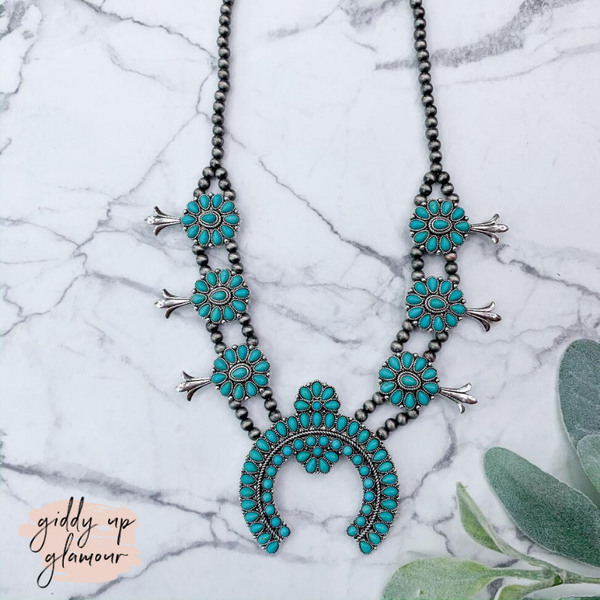 Flower Oval Squash Necklace in Turquoise and Silver