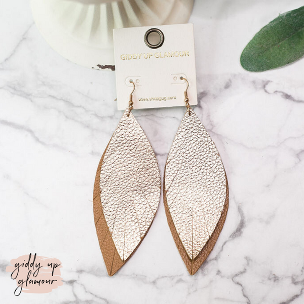 Two-Toned Light As a Feather Leather Earrings in Gold