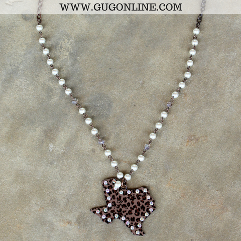 Long Pearl and Bronze Chain Necklace with Leopard Texas and AB Crystals