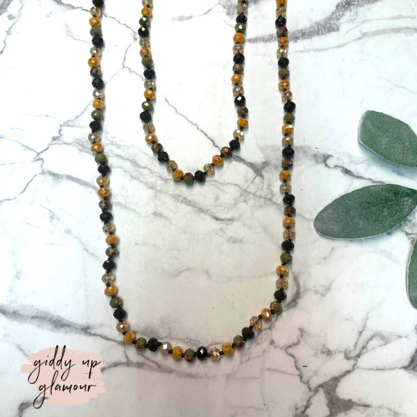60 Inch Long Layering 8mm Crystal Strand Necklace in Mustard Yellow and Olive Green