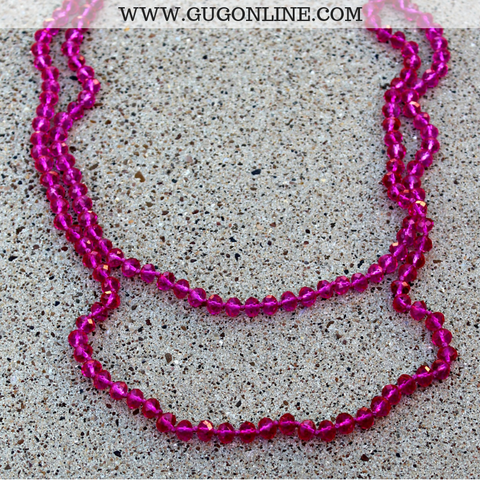 60 Inch Long Layering 6mm Crystal Strand Necklace in Hot Pink