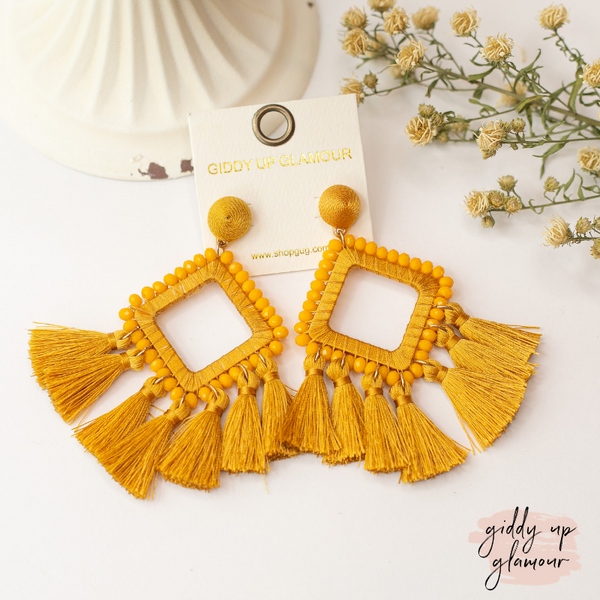 Crystal Diamond Outline Earrings with Tassels in Mustard Yellow