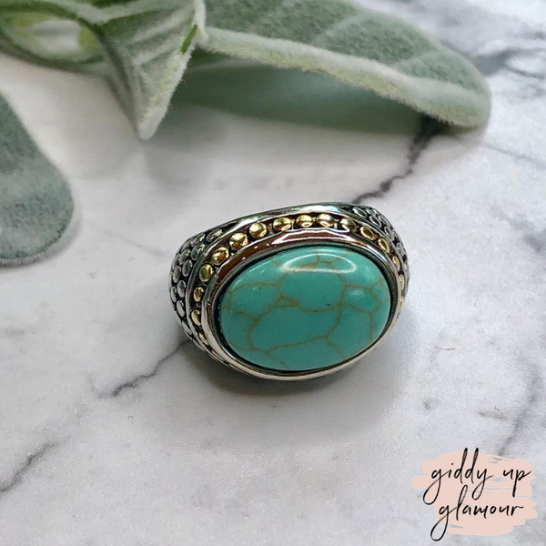 Designer Inspired | Two Toned Dome Fashion Ring with Turquoise Stone