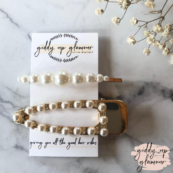 The Pearls Best Friend Set | Set of 2 Pearl Hair Clips