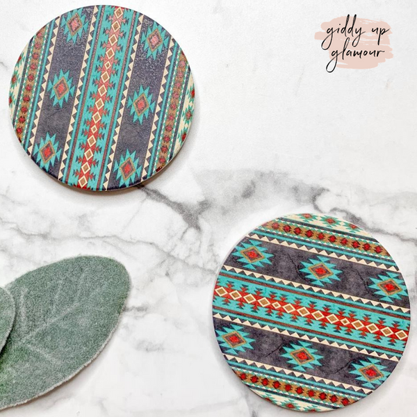 Set of Two | Aztec Car Coasters