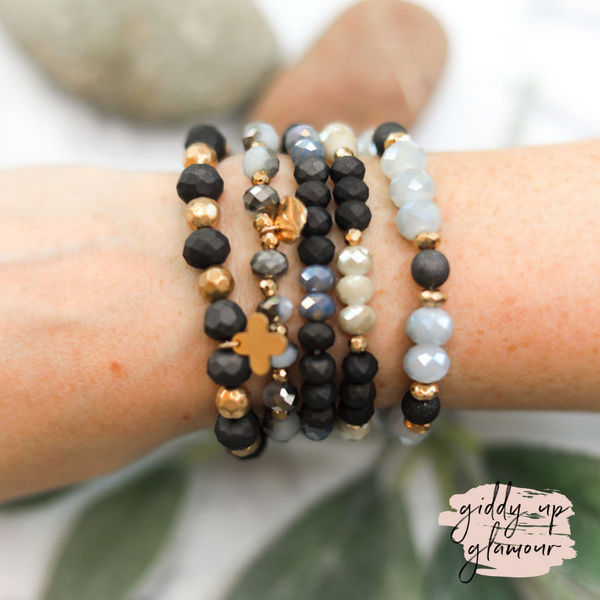 5 Piece Crystal Bracelet Set in Black
