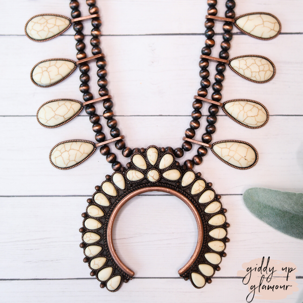 Navajo Pearl Inspired Squash Blossom Necklace in Ivory