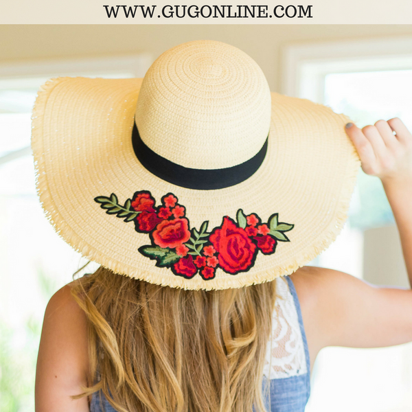 Rose Embroidered Tan Floppy Straw Hat