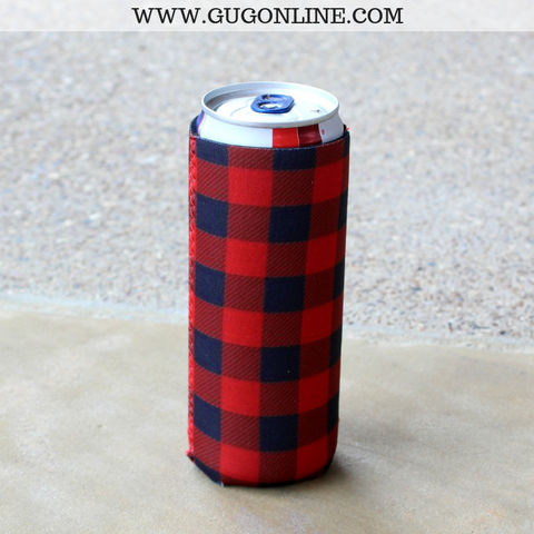 Buffalo Plaid Tall Can Koozie in Red