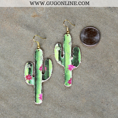 Cactus Shaped Leather Earrings