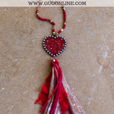Long Crystal Necklace with Large Heart and Tassel in Red