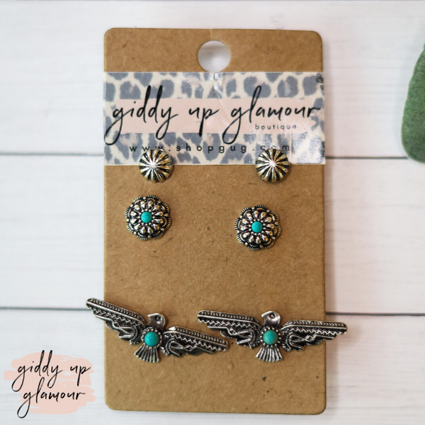 Set of Three Western Earrings-Silver Stud, Turquoise Stone Flower & Thunderbird