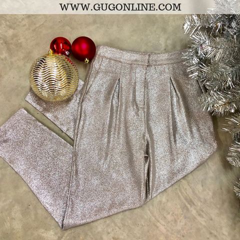 Heartbreak Girl Metallic Pleated Pants in Silver
