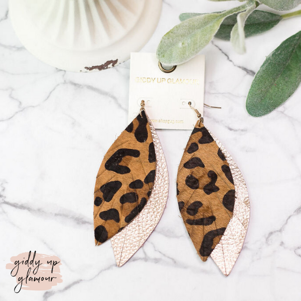 Two-Toned Light As a Feather Leather Earrings in Leopard