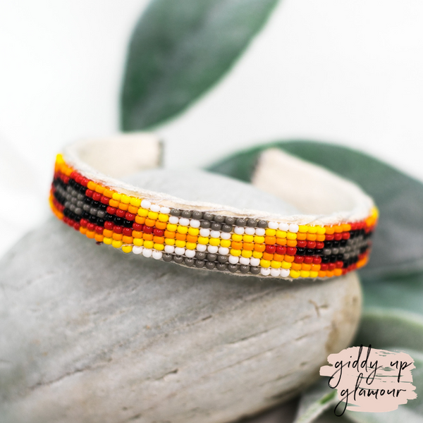 Navajo | Aztec Beaded Cuff Bracelet in Grey #1