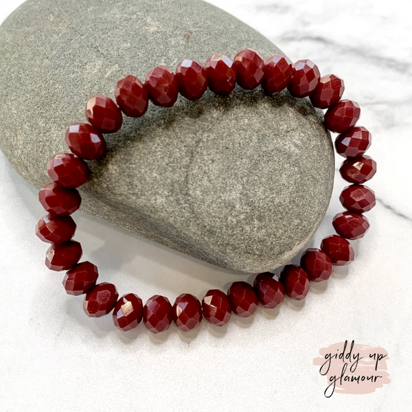 Crystal Beaded Stacker Bracelet in Burgundy
