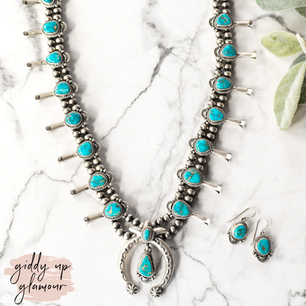 Shirley Henry | Handmade Sterling Silver & Kingman Turquoise Vintage Squash Blossom Necklace + Matching Earrings