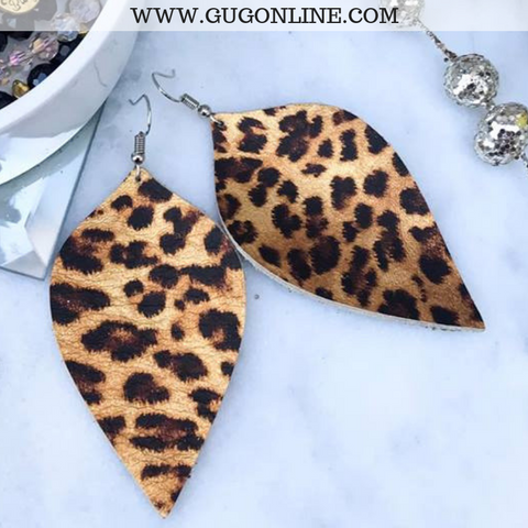 Leather Teardrop Earrings in Leopard