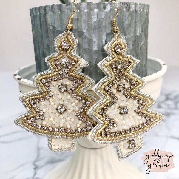 Dreaming of a White Christmas Tree Crystal Earrings