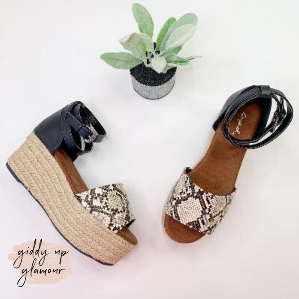 Stroll With It Espadrille Platform Sandal in Snakeskin