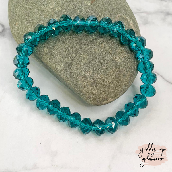 Crystal Beaded Stacker Bracelet in Clear Turquoise