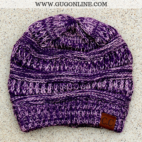 CC Beanie in Purple and Mauve Mix