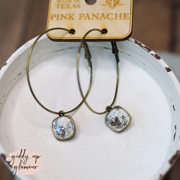 Pink Panache Large Bronze Hoop Earrings with Clear Cushion Cut Crystals in Square Setting