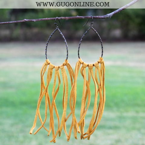 Fringe Leather Teardrop Earrings in Mustard