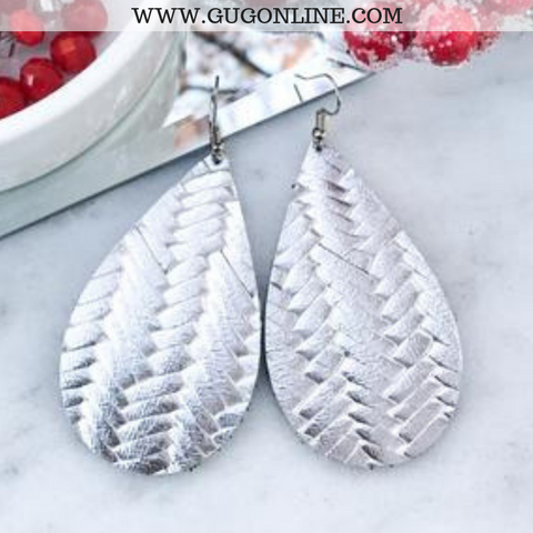 Braided Leather Teardrop Earrings in Silver