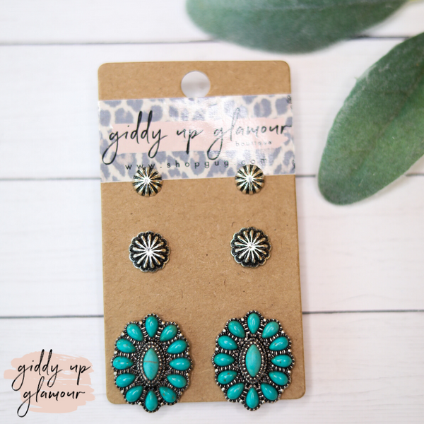 Set of Three Western Earrings-Silver Stud, Silver Flower & Turquoise Stone Cluster