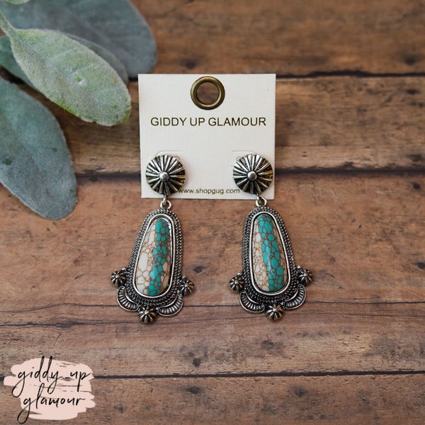 Western Stone Earrings in Turquoise and White