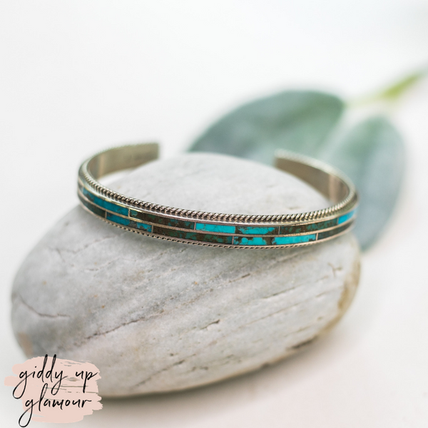 mathew matthew jack authentic genuine handmade handcrafted sterling silver turquoise stone inlay bracelet heritage style turquoise and co
