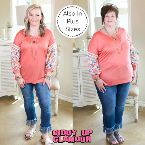 Nothing More Nothing Less Top with Sheer Floral Puff Sleeves in Coral