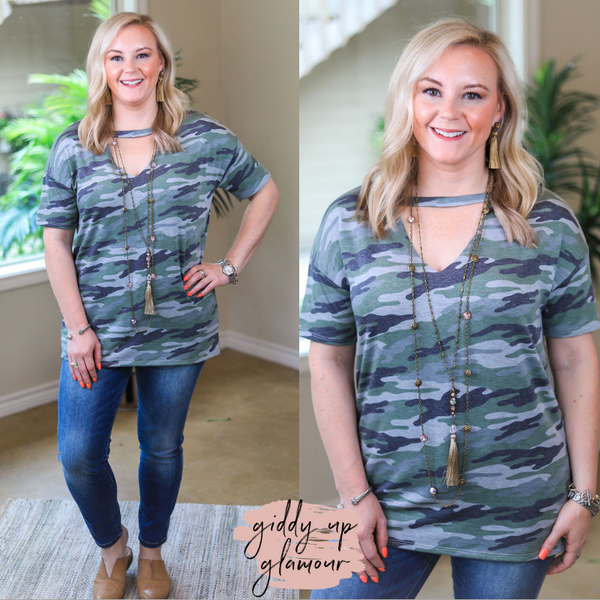 Newest Obsession Short Sleeve Top with V Neck Keyhole in Camouflage