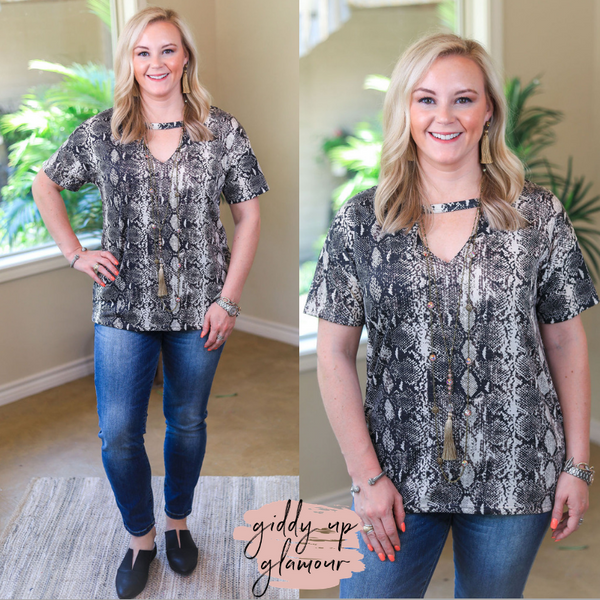 Newest Obsession Short Sleeve Top with V Neck Keyhole in Snakeskin