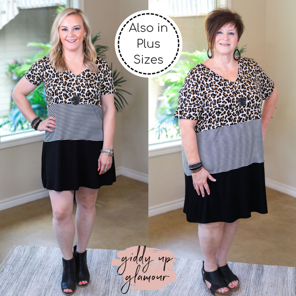 Sweeter Together Mixed Pattern Dress in Leopard, Stripe and Black
