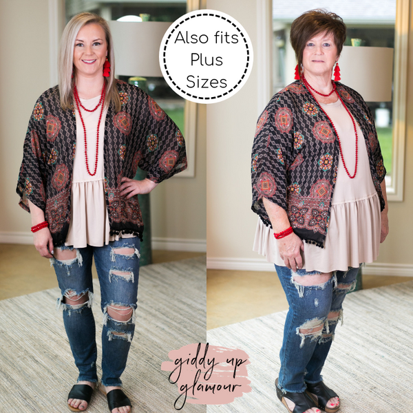 Sheer Black Kimono with Geometric Shapes and Pom Pom Trim