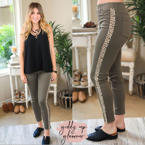 Subtle Charm Skinny Leg Pants with Leopard Trim in Olive Green