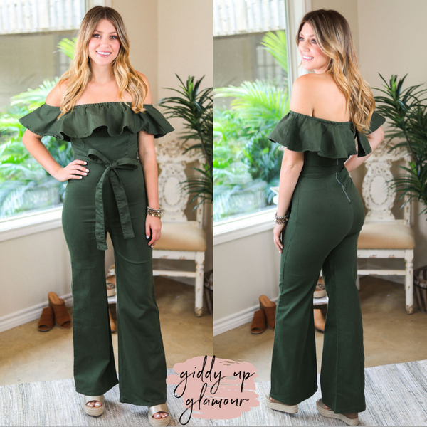 Melt Your Blues Away Off Shoulder Denim Jumpsuit in Olive Green
